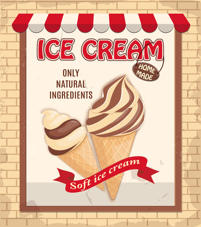 Vintage banner with two realistic waffle cone ice creams. Ice cream parlor, store, shop symbol and ribbon with text soft ice cream. Illustration