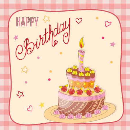 Colorful birthday card with doodle cake tier, roses, candle, handwritten inscription Happy Birthday on the festive background with frame. eps10.