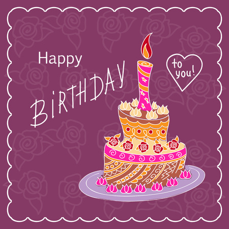 Violet birthday card with doodle cake tier patterned in zen tangled style,  candle and handwritten inscription Happy Birthday on the festive background with frame. eps10.