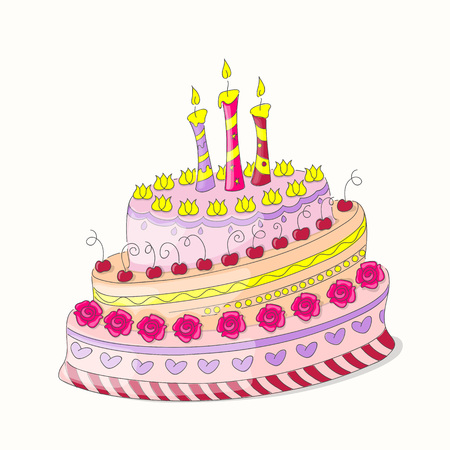 Cartoon colorful doodle cake tier with roses, three candles and cherries isolated  on the white background. Festive invitation card for birthday, wedding or Valentine day. eps10.