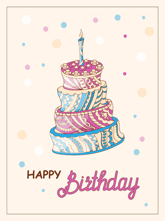 Colorful birthday card with  doodle cake tier patterned in zen tangled style,  candle and handwritten inscription Happy Birthday on the festive background with frame. eps10.
