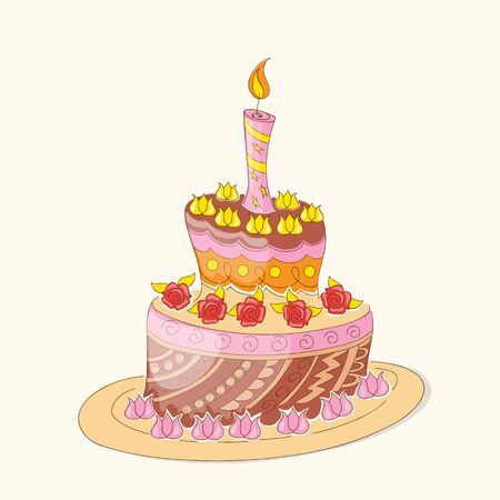 Vector illustration colorful invitation card cupcake with currant. Print with text Enjoy your sweet life. eps10.