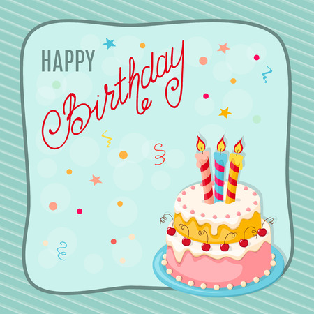 Colorful birthday card with doodle cake tier, three candles, handwritten inscription Happy Birthday on the festive background with frame. eps10.  Illustration