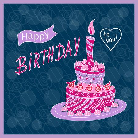 Tarjeta de cumpleaños azul oscuro con nivel de pastel de doodle estampado en estilo zen enredado, vela e inscripción manuscrita Feliz cumpleaños en el fondo festivo con marco. Eps10.