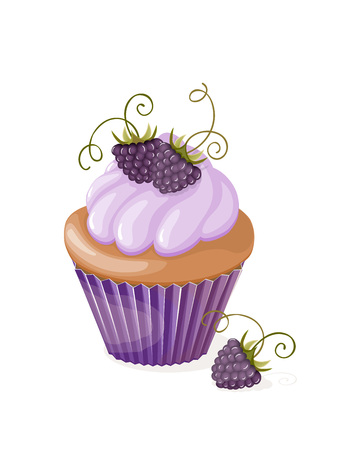 Realistic isolated colorful cupcake with blueberry on the white background. Vector illustration for tea party invitation or birthday card, sweet menu of the restaurant, cafeteria, bakery cafe or shop. eps10.