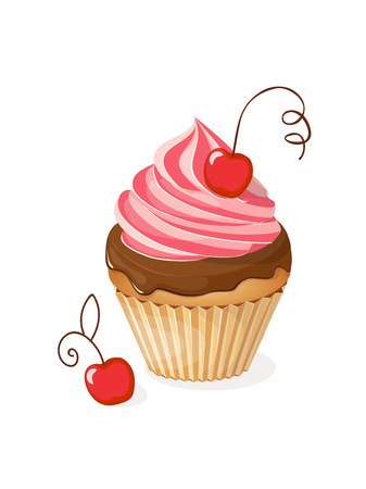 Realistic isolated colorful cupcake with cherry on the white background. Vector illustration for tea party invitation or birthday card, sweet menu of the restaurant, cafeteria, bakery cafe or shop. eps10.  Çizim