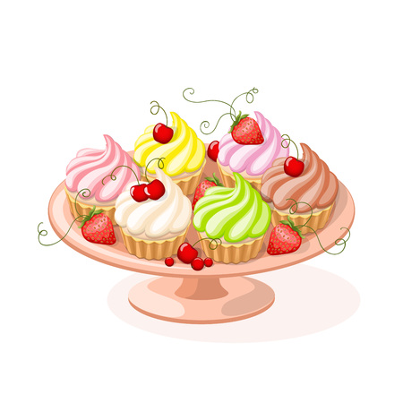 Realistic isolated colorful plate with set of cupcakes and berries on the white background. Illusztráció
