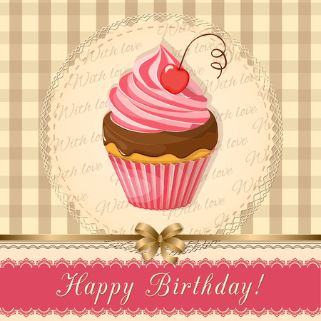 Birthday card with handwritten inscription Happy Birthday and realistic cupcake with cherry on the napkin and vintage background. eps10.
