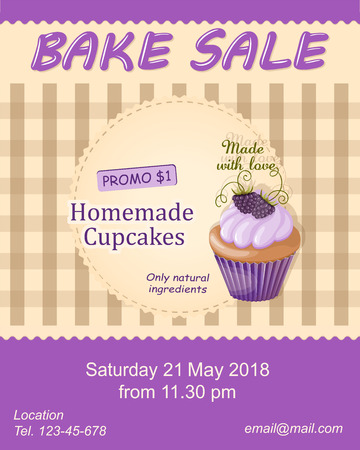 Colorful flyer template for bake sale promotion or banner for shop, store, cafeteria or bakery cafe menu with realistic cupcake on the napkin.