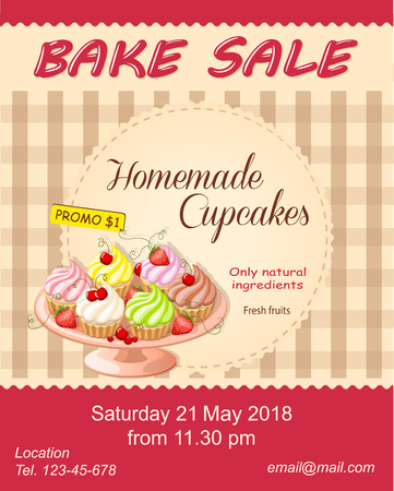 Colorful flyer template for bake sale promotion or banner for shop, store, cafeteria or bakery cafe menu with realistic cupcakes on the plate. eps10.
