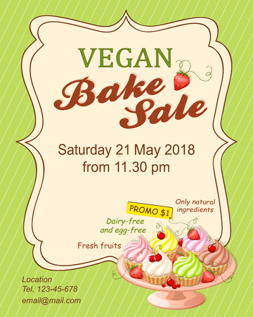 Colorful flyer template for vegan bake sale promotion or banner for shop, store, cafeteria or bakery cafe menu with realistic cupcakes on the plate.