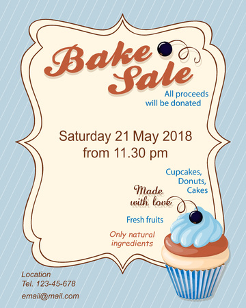 Colorful flyer template for bake sale promotion or banner for shop, store, cafeteria or bakery cafe menu with realistic blueberry cupcake.