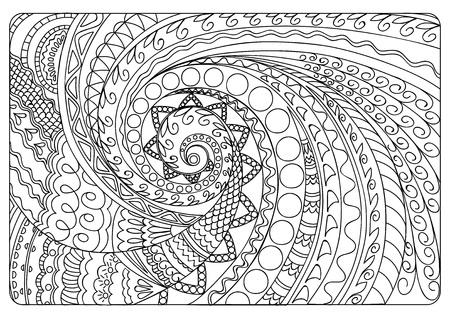 Reticolo aggrovigliato disegnato a mano in motivi arabi, indiani, boho. Immagine per libro da colorare per adulti, decorare piatti, porcellane, ceramiche, stoviglie. eps 10