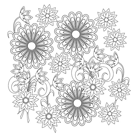 Hand drawn doodle composition with flowers for decorate stationery, dishes, porcelain, ceramics, adult anti stress coloring book. eps 10