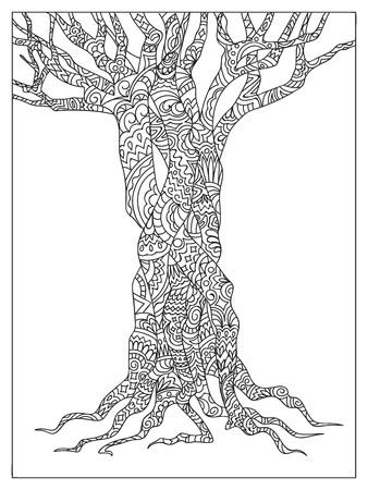 Árbol estampado dibujado a mano en estilo zen enredo. Imagen para libro de colorear para adultos, decoración de papelería, porcelana, cerámica, vajilla.