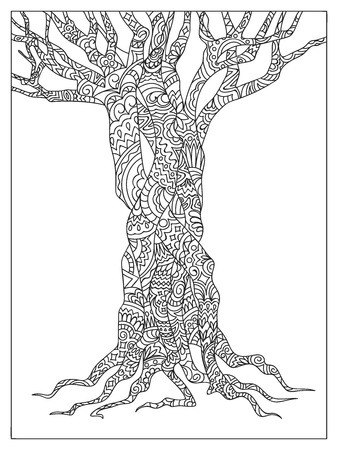 Hand drawn  patterned tree in zen tangle style. Image for adult coloring book, decorate stationery, porcelain, ceramics, crockery.