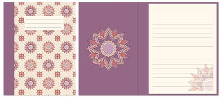 Colorful cover design with mandala boho hand drawn pattern for decorate notebook, sketchbook, copybook, album, diary. Cover A5 template with interior. EPS 10.