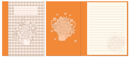 Creative cover design with hand drawn floral bouquet in the watering can for decorate notebook, sketchbook, copybook, album, diary. Cover A5 template with interior. EPS 10.