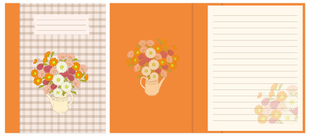 Creative cover design with hand drawn floral bouquet in the teapot for decorate notebook, sketchbook, copybook, album, diary. Cover A5 template with interior. EPS 10.