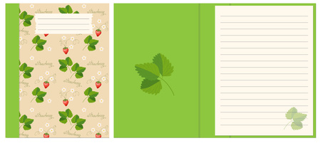 Colorful cover design with strawberry boho hand drawn pattern for decorate notebook, sketchbook, copybook, album, diary. Cover A5 template with interior. EPS 10.