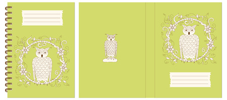 Set of two cover design with owl into floral frame for decorate notebook, sketchbook, copybook, album, diary, book. Cover A5 template with back. EPS 10. Çizim