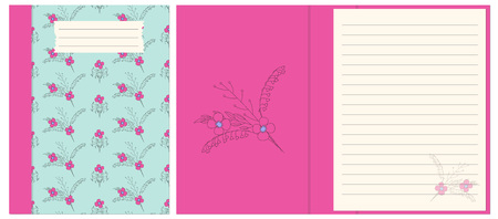 Colorful cover design with boho hand drawn floral pattern for decorate notebook, sketchbook, copybook, album, diary. Cover A5 template with interior. EPS 10. Çizim