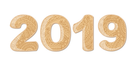 Hand drawn numbers 2019 patterned with zen tangled shapes. Handwritten font 2019 with visual three-dimensional effect for decorate calendar, banner, new year card. Isolated on white. eps 10