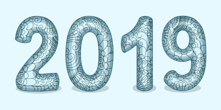 Hand drawn numbers 2019 patterned with zen tangled shapes. Handwritten font 2019 with visual three-dimensional effect for decorate calendar, banner, new year card. Isolated on blue. eps 10 Çizim