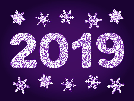 New year festive background with numbers 2019 patterned with hand drawn zen tangled shapes and snowflakes. Handwritten font 2019 for decorate calendar, banner, card. eps 10