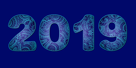 Hand drawn numbers 2019 patterned with zen tangled shapes. Handwritten font 2019 with visual three-dimensional effect for decorate calendar, banner, new year card. Isolated on dark blue. eps 10