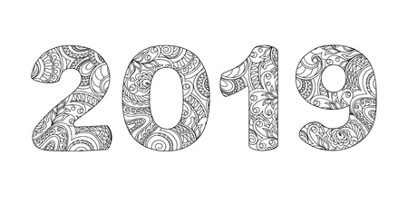 Handwritten number 2019 patterned with zen-tangle shapes, isolated on white. Handwritten font 2019 for decorate calendar, banner, poster, invitation, new year card, adult coloring book. eps 10 Vectores
