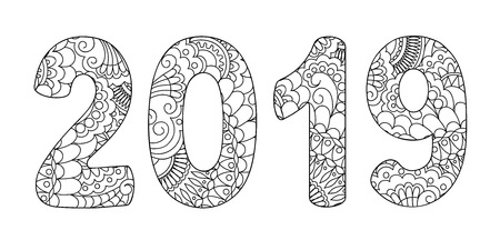 Handwritten number 2019 patterned with zen-tangle shapes, isolated on white. Handwritten font 2019 for decorate calendar, banner, poster, invitation, new year card, adult coloring book. eps 10 Ilustração