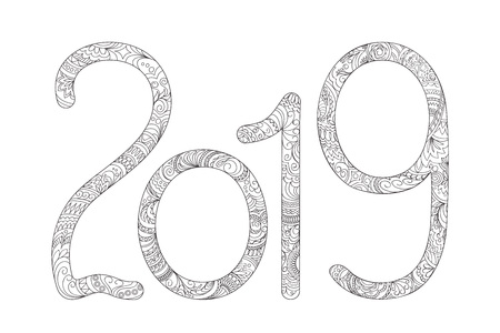 Handwritten number 2019 patterned with zen-tangle shapes, isolated on white. Handwritten font 2019 for decorate calendar, banner, poster, invitation, new year card, adult coloring book. eps 10 Çizim