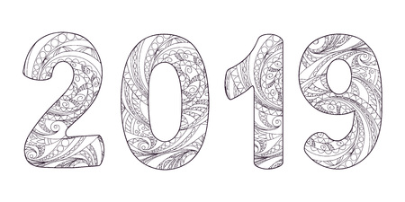 Handwritten number 2019 patterned with zen-tangle shapes, isolated on white. Handwritten font 2019 for decorate calendar, banner, poster, invitation, new year card, adult coloring book. eps 10 Illusztráció