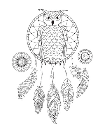 Coloring page with hand drawn patterned dreamcatcher with owl and mandalas isolated on the white for adult antistress coloring book, album, wall mural, tattoo. eps 10
