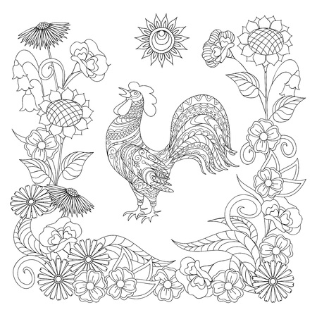 Coloring page with hand drawn patterned rooster among flowers for children and adult antistress coloring book, album, wall mural. eps 10