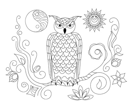 Coloring page with hand drawn patterned owl on the twig and yin yang sun symbol for adult antistress coloring book, album, wall mural, tattoo template. eps 10