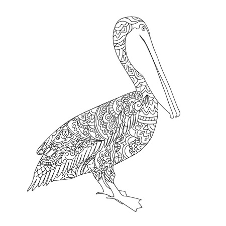 Coloring page with hand drawn patterned pelican isolated on the white for children and adult antistress coloring book, album, wall mural, tattoo. eps 10