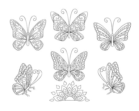 Coloring page with set of six butterflies for adult antistress coloring book, album, wall mural, art, tattoo. Black and white outline illustration.