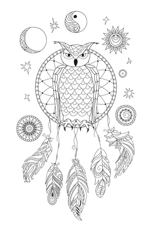 Coloring page with symbol moon, sun, jin yang, patterned owl and feathers for adult antistress coloring book, album, wall mural, art, tattoo.  イラスト・ベクター素材