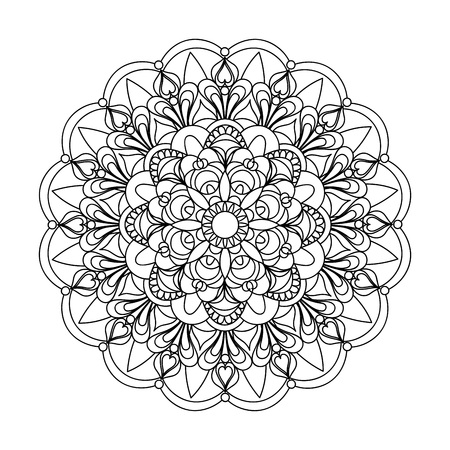 Mandala with hand drawn  elements in Arabic, Indian, turkish, pakistan motifs. Image for anti-stress therapy, adult coloring books, tattoo, decorate dishes and stationery,  wall art and mural.