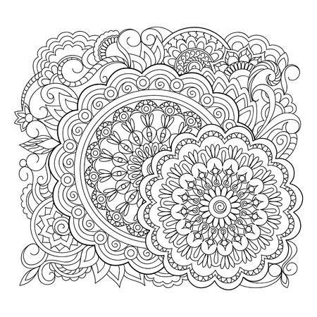 Mandalas de contorno monocromo con elementos dibujados a mano en motivos árabes, indios, turcos, pakistaníes para yoga, terapia antiestrés, libro para colorear para adultos, ropa, indumentaria, arte mural.