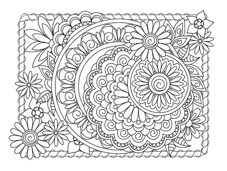 Monochrome outline mandalas with hand drawn elements in Arabic, Indian, turkish, pakistan motifs for yoga, anti-stress therapy, adult coloring book,  clothes, apparel, wall art.