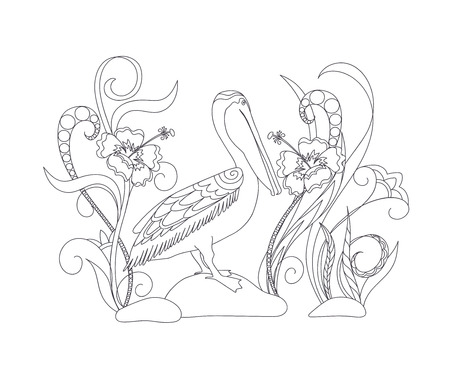 Coloring page with hand drawn cartoon pelican among flowers for children and adult antistress coloring book, album, wall mural. eps 10
