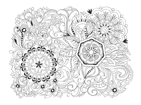 Hand drawn composition in zen-tangle style with mandalas and flowers. Print for anti-stress therapy, adult coloring books, decorate cases, dishes and stationery, wall art and mural.