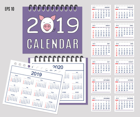 Desk calendar year 2019 with cartoon pig muzzle on cover. Set of 12-month isolated pages and  full calendar year 2019, 2020. English language.