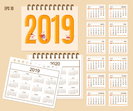 Desk calendar year 2019 with cute cartoon piggies on cover. Set of 12-month isolated pages and  full calendar year 2019, 2020. English language.