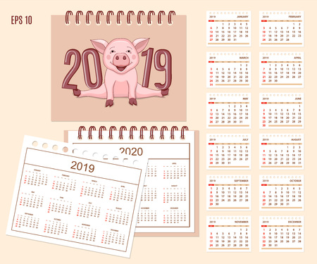 Desk calendar year 2019 with cute cartoon piggy on cover. Set of 12-month isolated pages and  full calendar year 2019, 2020. English language.  イラスト・ベクター素材