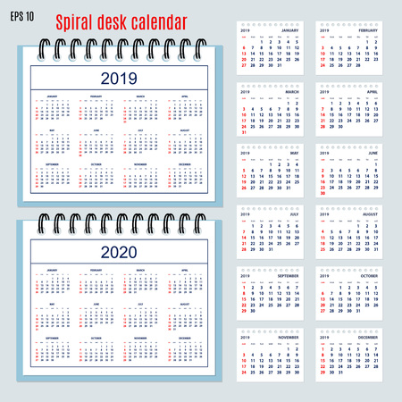 Set of business calendar for desk year 2019 with 12-month isolated pages and  full calendar year 2019, 2020. English language. Week starts on Sunday.