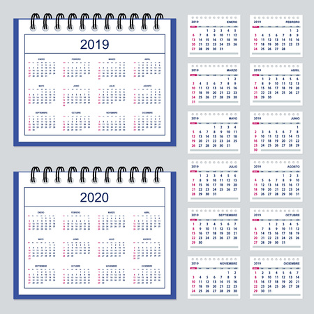 Set of business calendar for desk year 2019 with 12-month isolated pages and  full calendar year 2019, 2020. Spanish language. Week starts on Sunday.  イラスト・ベクター素材